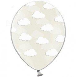6 Globos transparentes, impresos con nubes blancas