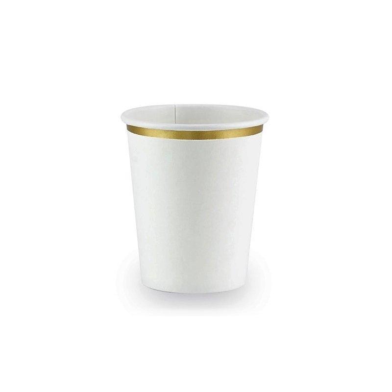 6 Vasos de papel, blancos con filo dorado