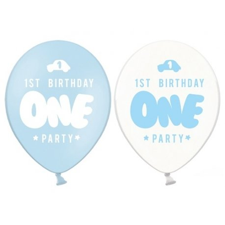 6 Globos One - Primer cumpleaños. Azul