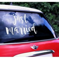 Vinilo para coche de novios. Just Married