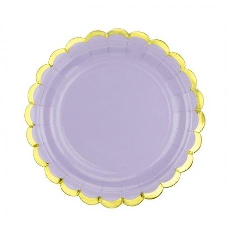 6 Platos de papel lila, con festón dorado. 18 cms