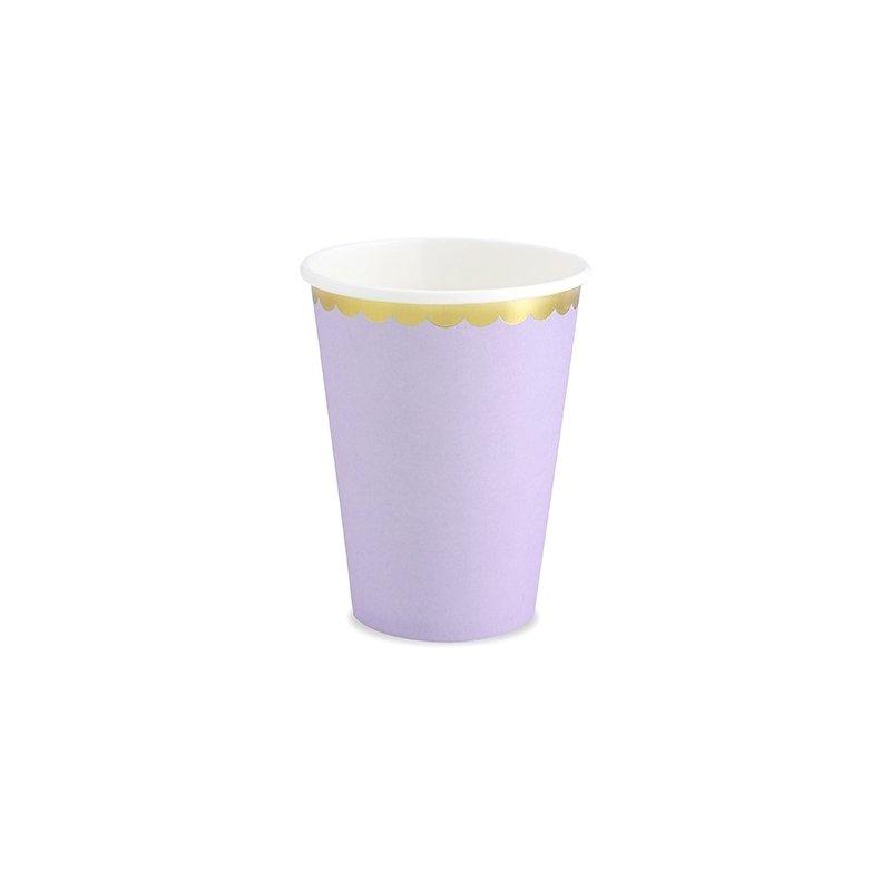 6 Vasos de papel, lila con festón dorado