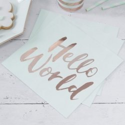 20 Servilletas de papel, Hello World. Mint y oro rosa