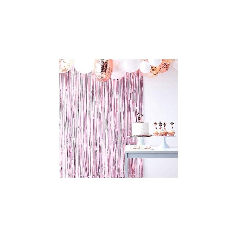 Cortina de flecos rosa mate - Fondo photocall - Back drop.