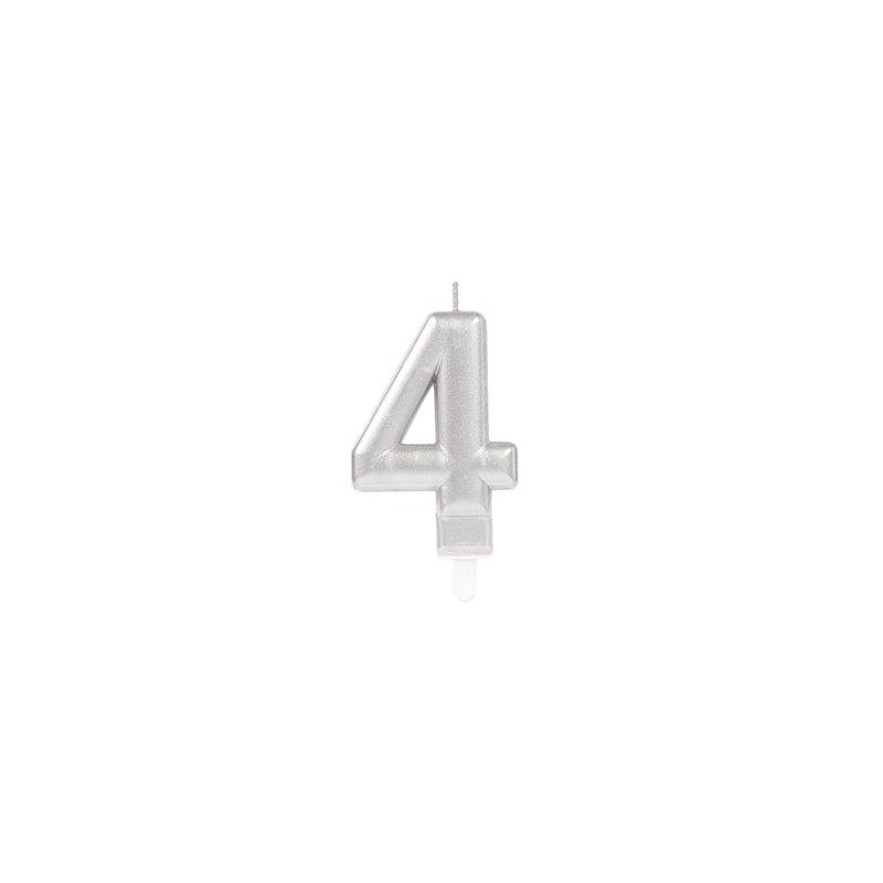 Velas de cumpleaños plateadas, en forma de números. Del 0 al 9