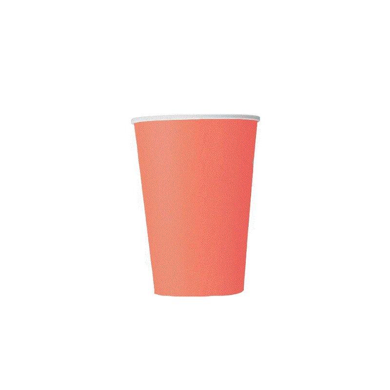 14 Vasos de papel, Coral.