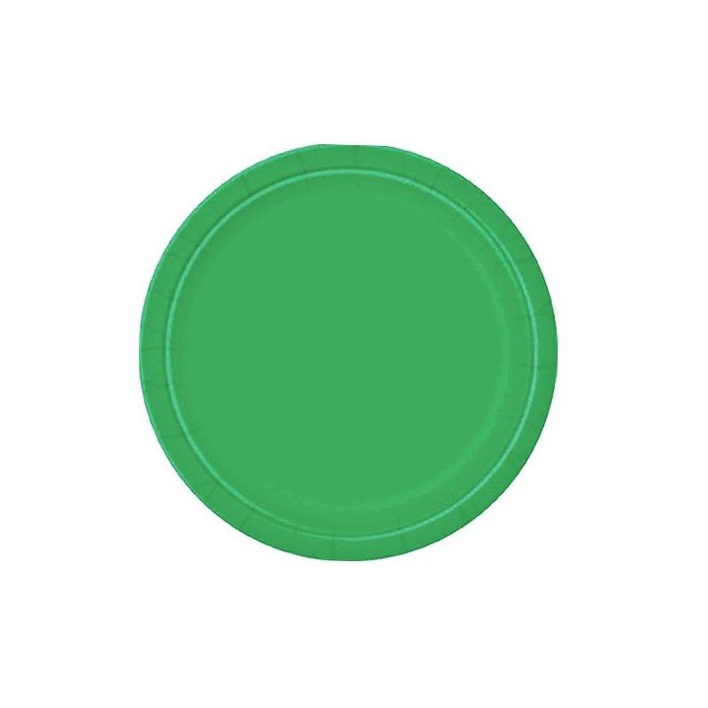 Platos de papel, verde esmeralda. Disponibles en 2 tamaños