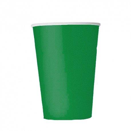 14 Vasos de papel, verde esmeralda