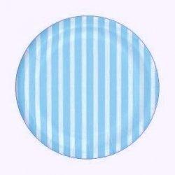 12 Platos de papel azul clarito con rayas blancas. 18 cms