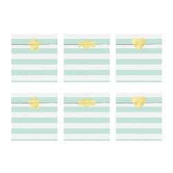 6 Sobres/bolsas de papel rayas Yummy Mint con pegatinas