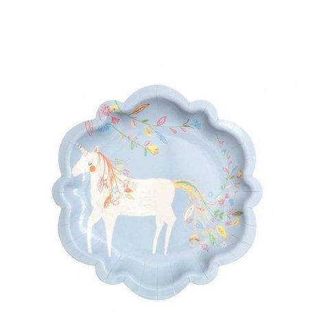 8 Platos Fiesta de Princesas mágicas y Unicornios, de Meri Meri Party. 18 cms