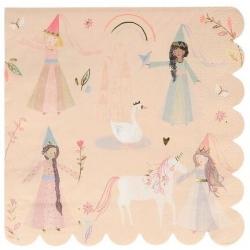 16 Servilletas de papel Fiesta de Princesas mágicas y Unicornios, de Meri Meri Party. 18 cms