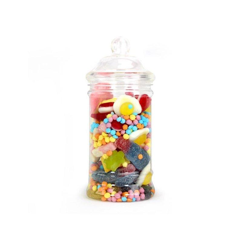 Tarro-bombonera de plástico para chuches. 17.5 cms