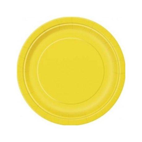 Platos de papel Amarillo. Disponibles en 2 tamaños