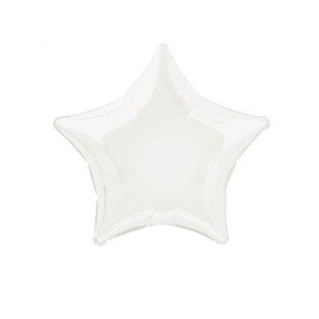 Globo metalizado estrella blanco sólido. 50 cms