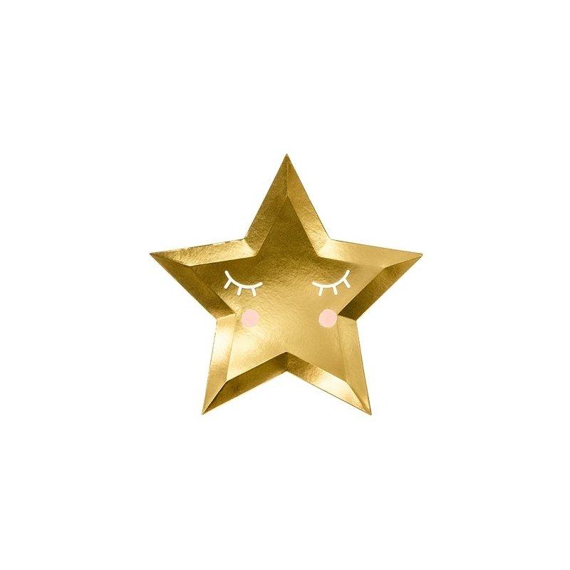 6 Platos de papel en forma de estrella dorada con carita. 27 cms