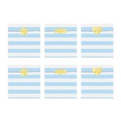 6 Sobres/bolsas de papel rayas Yummy Azul Claro con pegatinas