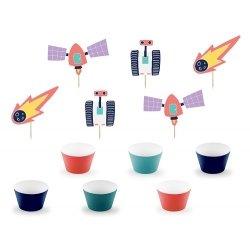 Set de 6 envolturas para cup cake y 6 toppers. Fiesta Espacial
