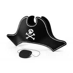 Sombrero y parche pirata, de cartón