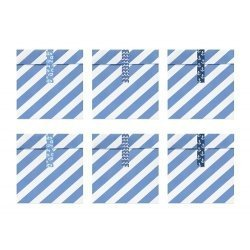 6 Sobres/bolsas de papel rayas Azules con pegatinas