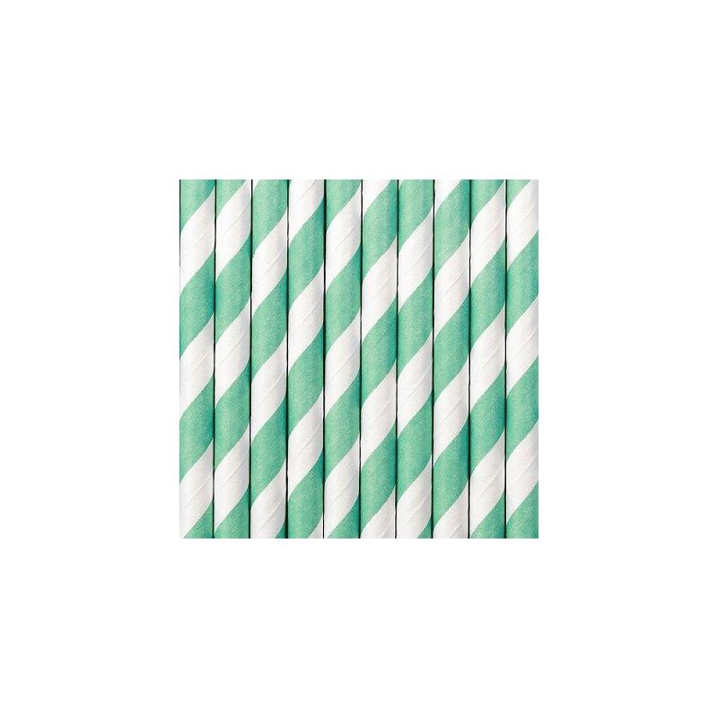 10 Pajitas de papel, espiral Azul Tiffany