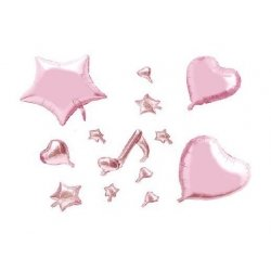 Set 13 globos metalizados rosa