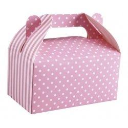 6 Cajas picnic rosa, rayas y lunares