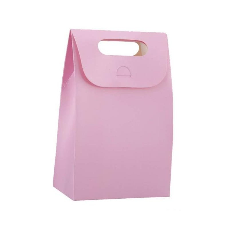 4 Cajas-Bolsa rosa. Asa troquelada