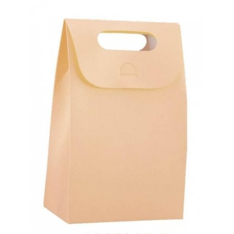 4 Cajas-Bolsa color Melocotón. Asa troquelada