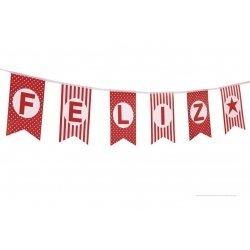 Guirnalda Feliz Cumpleaños con banderines rojos y blancos