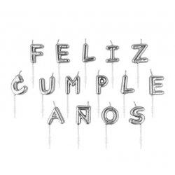 Velas Feliz Cumpleaños, plata