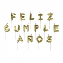 Velas Feliz Cumpleaños, oro