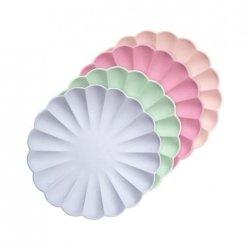 8 Platos de papel 100% ecológicos. Surtidos en 4 colores pastel. 19 cms
