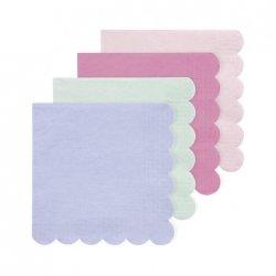 20 Servilletas de papel 100% ecológicas. Surtidas en 4 colores pastel.