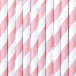 10 Pajitas de papel, espiral rosa.