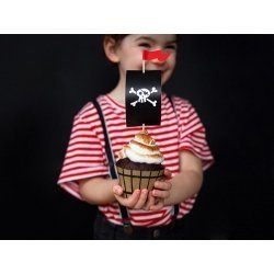 Kit para 6 cup cakes Fiesta Pirata. Bases + Toppers