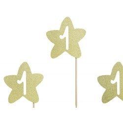 6 Toppers estrella oro glitter. 1