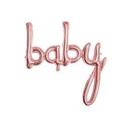 Globo palabra Baby oro rosa