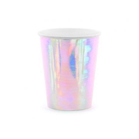 6 Vasos de papel iridiscente