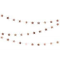 Guirnalda con estrellas oro rosa metalizadas