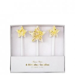 6 Velas estrellas blancas con purpurina dorada