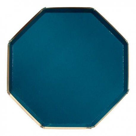 8 Platos octogonales verde tilo. 20 cms