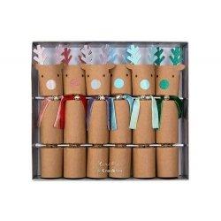 6 Crackers Reno kraft, con toques metalizados