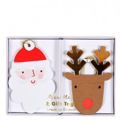 8 Etiquetas colgantes navideñas, Reno y Papá Noel