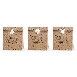 3 bolsas-sobres kraft, navideños, con pegatinas. 25 x 11 x 27 cm.