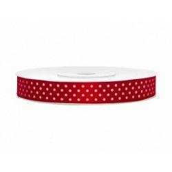 25 Metros de cinta de raso rojo con lunares blancos. Ancho 12 mm
