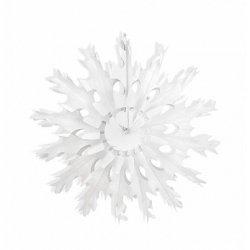 Abanico de papel Blanco, copo de nieve. 37 cms