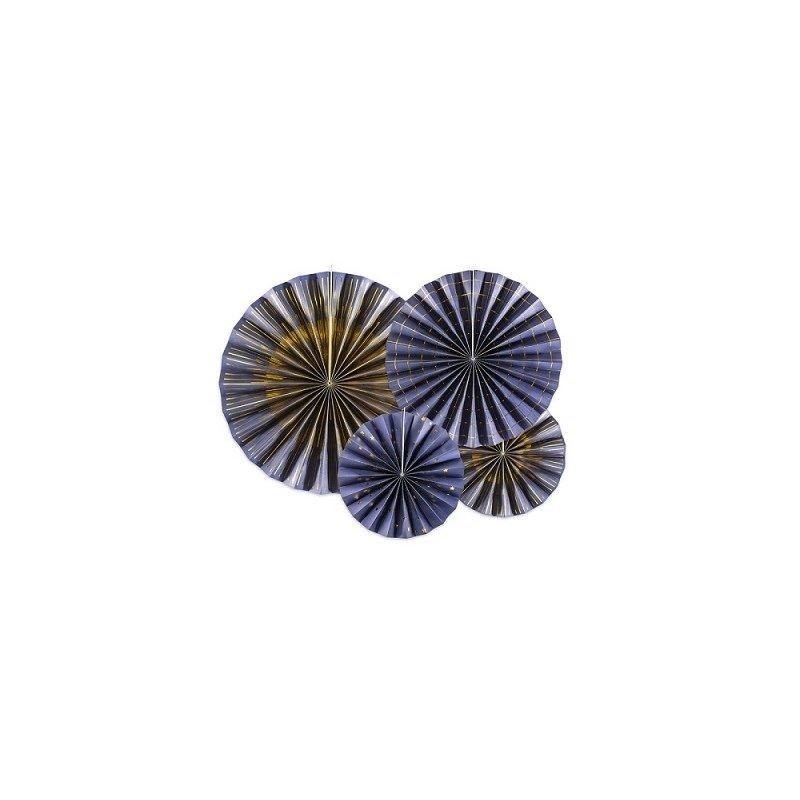 Set de 4 abanicos-molinillos azul marino y dorado