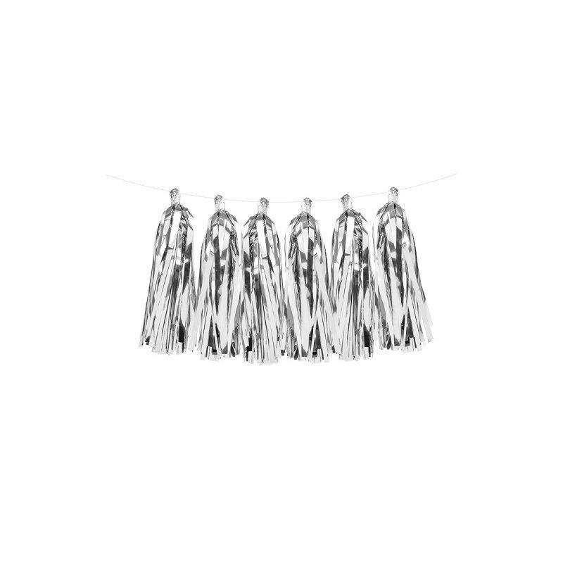 Guirnalda tassel-borlas, plata metalizado