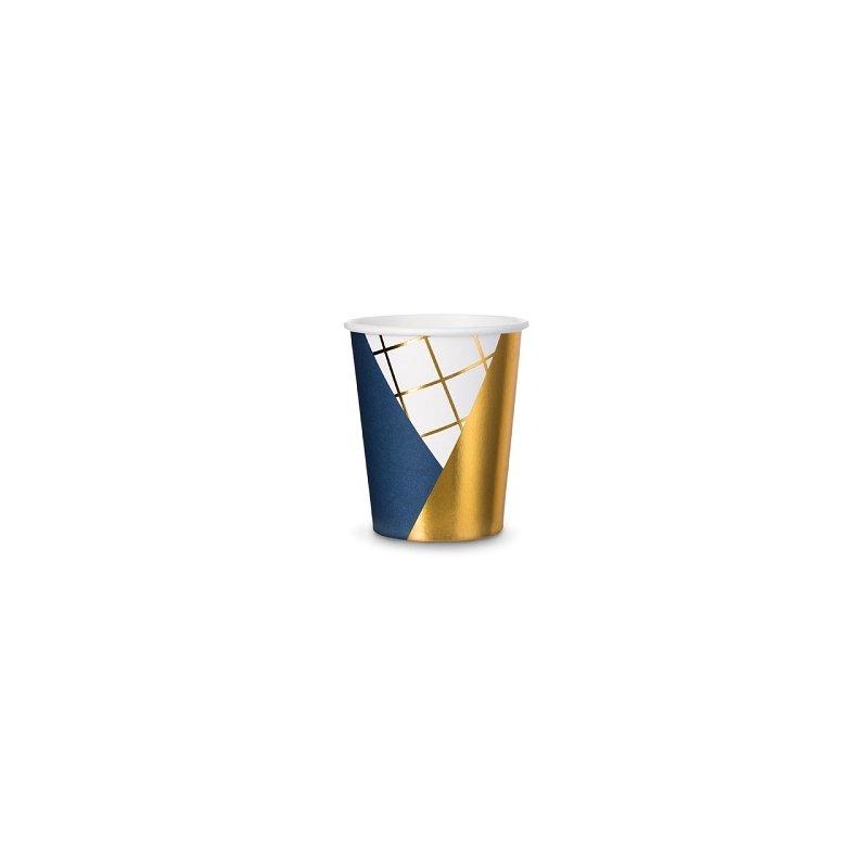 6 Vasos de papel azul marino y dorado